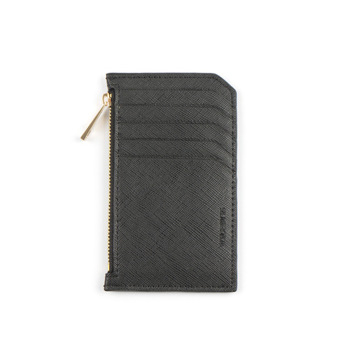 SLIM LEATHER CARD WALLET (BLACK)