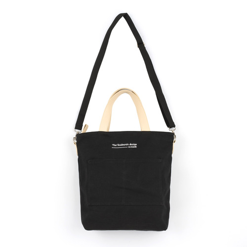 CANVAS POCKET TOTE CROSS BAG (BLACK)