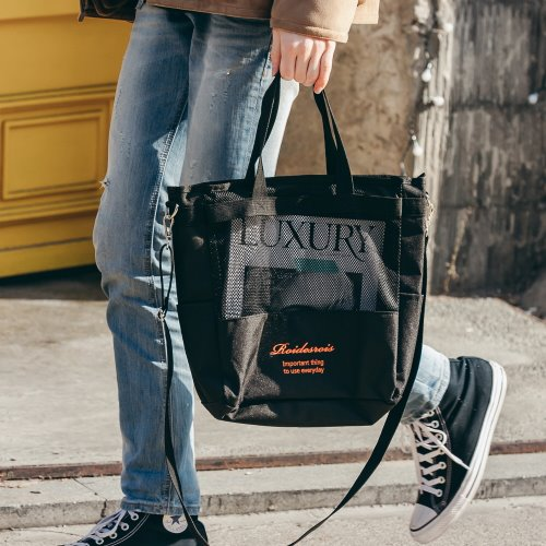 [로아드로아x콜카] FOOT MESH CROSSBAG (BLACK)