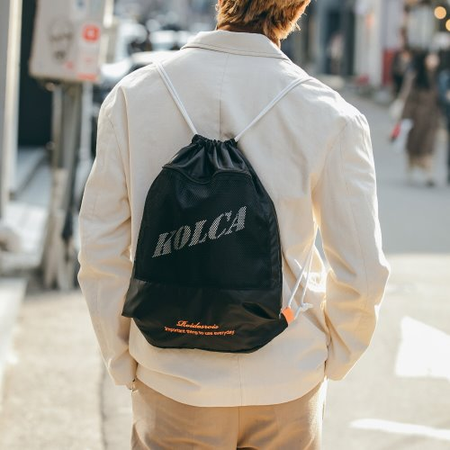 [로아드로아x콜카] MESH POCKET GYMSACK (BLACK)