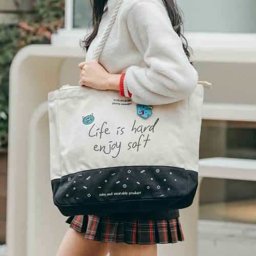 SWEET SLOGAN ROPE TOTE BAG (IVORY)