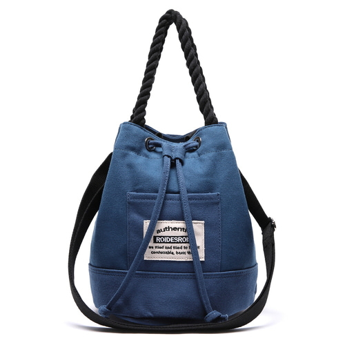 ROPE COTTON BUCKET CROSS BAG (BLUE)