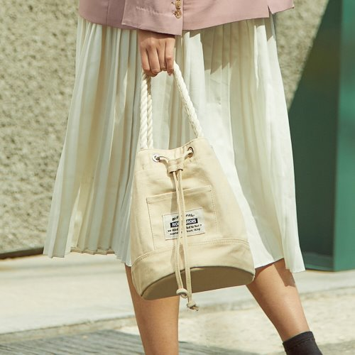 ROPE COTTON BUCKET CROSS BAG (BEIGE)